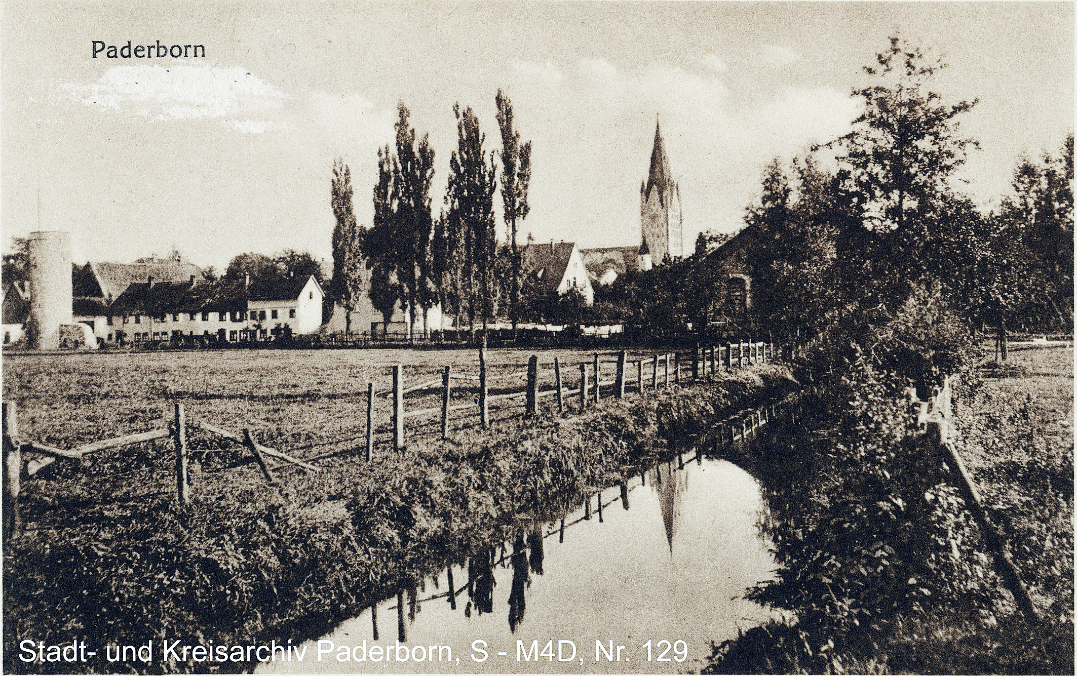 """Paderborn, """"Schlachthauskanal"""", Ansichtskarte 1917 (Stadt- und KreisA Pb, S-M4D,Nr. 129)"""
