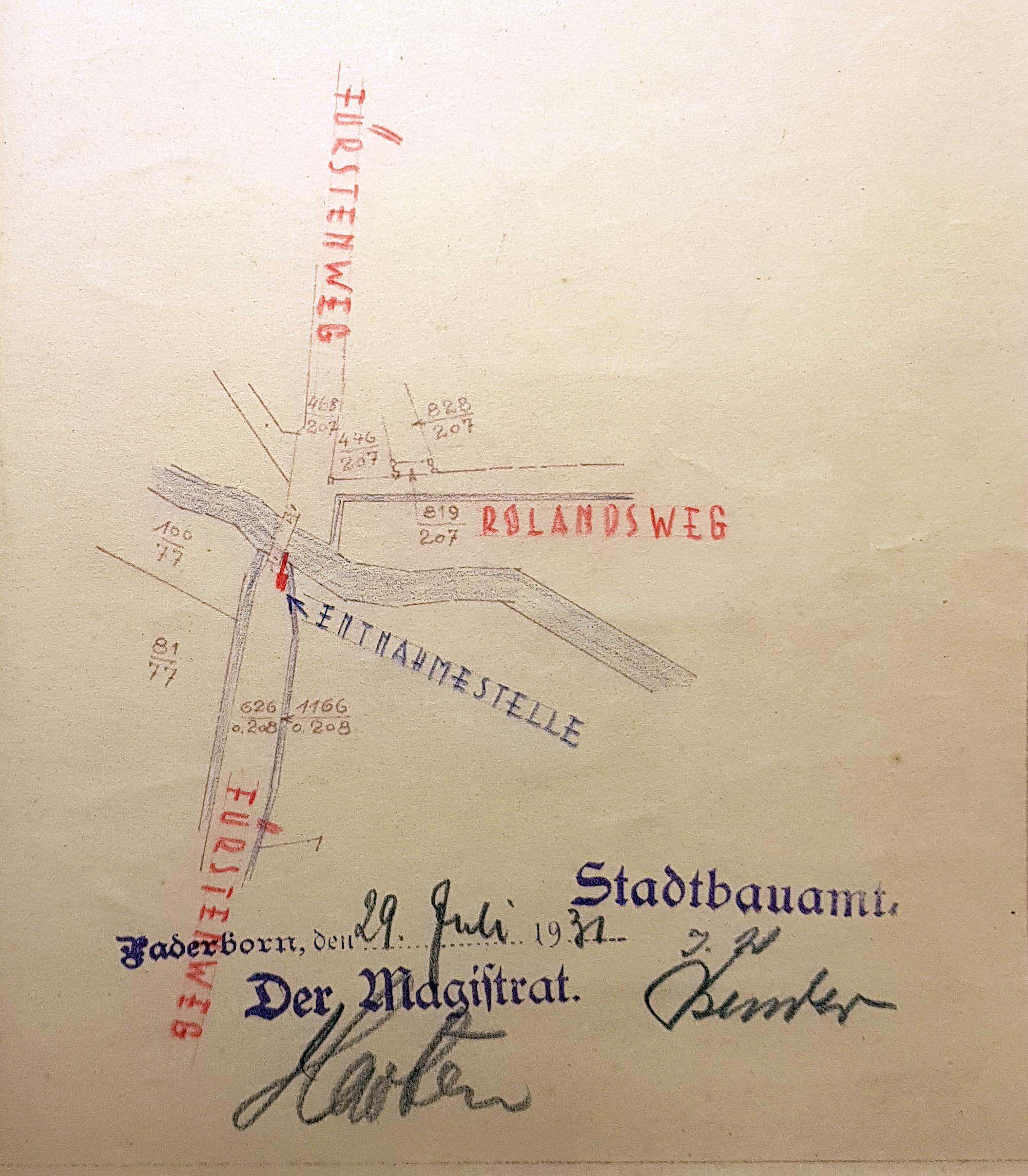 """Geplante Wasserentnahmestelle für den städtischen Motorsprengwagen an der """"Steinernen Brücke"""", Lageskizze 1931 (Stadt- und KreisA Pb, A 5551, unfol.)"""