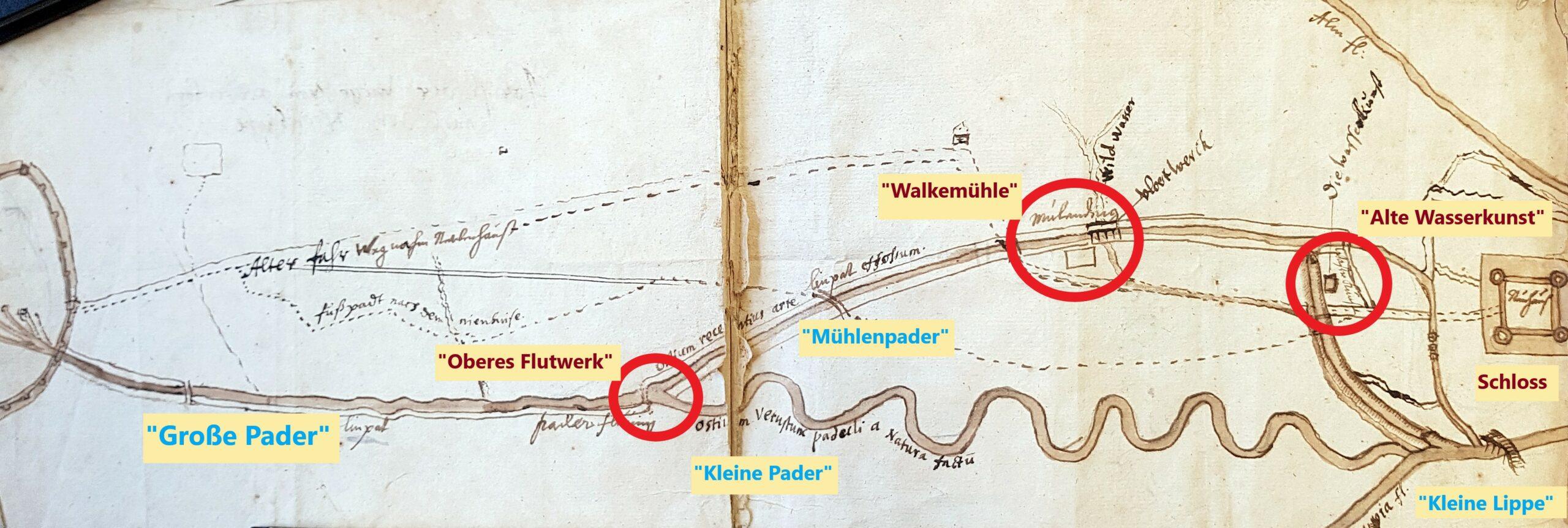 """""""Jesuitenplan"""" zum Paderverlauf im 17. Jahrhundert von J. Grothaus S. J., um 1680 (""""Abriß der Wege von Paderborn nach dem Nienhuiße"""", EAB Pb, AV, PA 123, fol. 15)"""