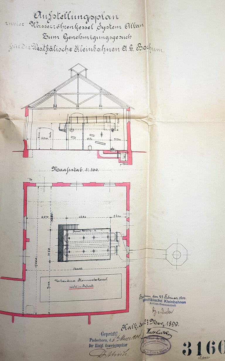 """""""Aufstellungsplan zweier Wasserröhrenkessel"""" im Kesselhaus des Elektrizitätswerks Neuhaus, 1900 (Stadt- und KreisA Pb, G 453, unfol.)"""