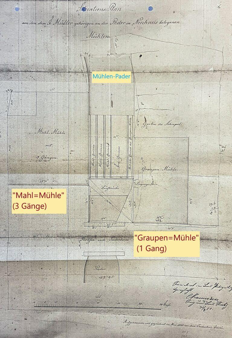 """""""Situations-Plan von den dem F. Müller gehörigen an der Pader in Neuhaus belegenen Mühlen"""", 1855 (LA Münster, Fotokopie Privatarchiv G. G. SANTEL, Paderborn, Bearbeitung M. Ströhmer)"""