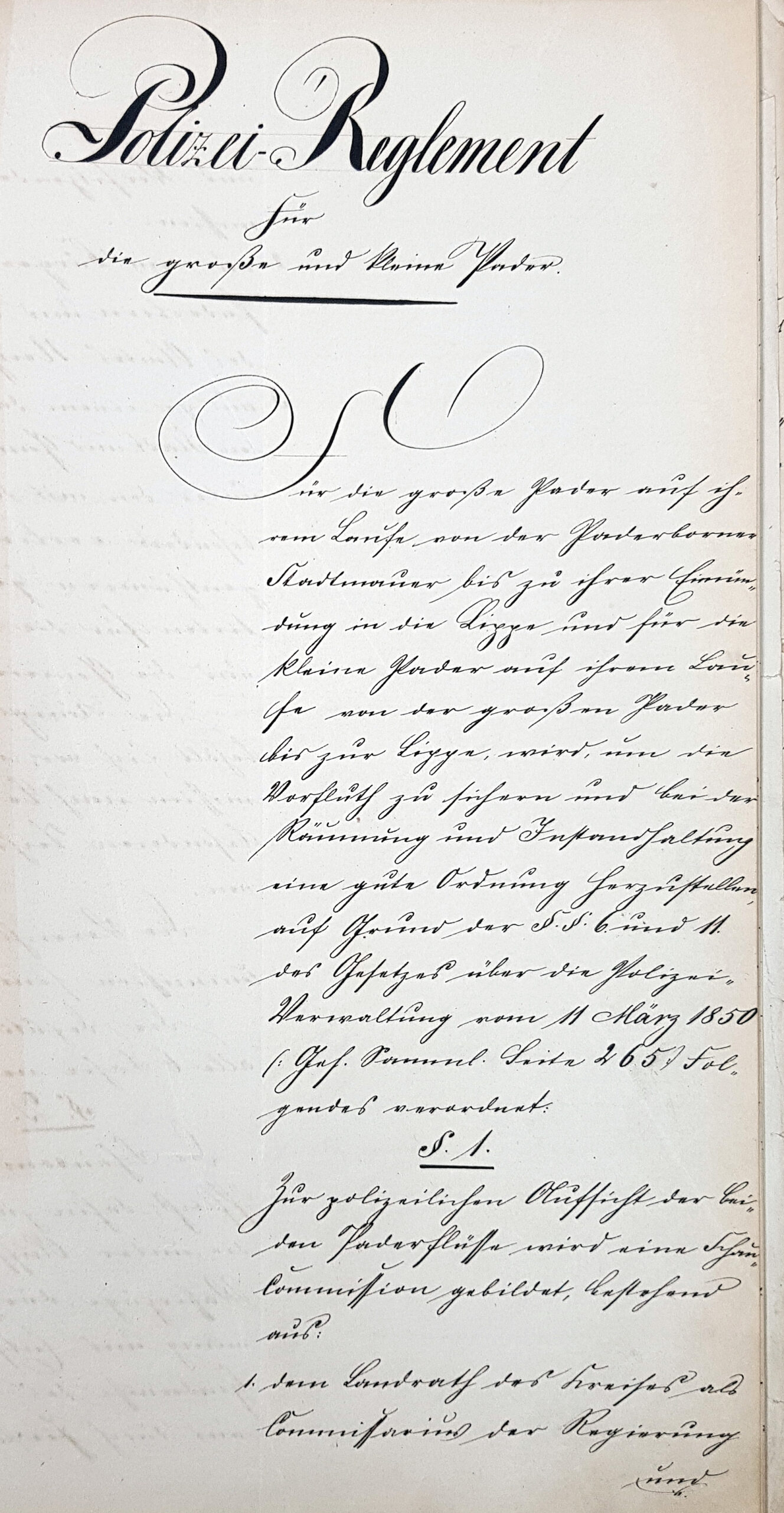 """""""Polizei-Reglement für die große und kleine Pader"""", Manuskript 1866 (LA Detmold, M1 III E, Nr. 151, unfol.)"""