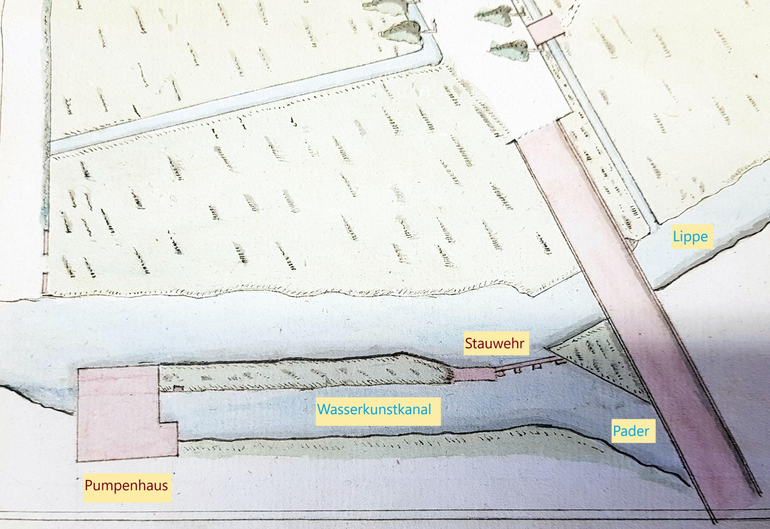 """Neuhaus, Neue Wasserkunst von 1753/55 im """"Grundriss der Wiese bei der Lippebrücke"""", 18. Jahrhundert (EAB Pb, AV, Acta 88, fol. 18v-19r, Bearbeitung M. Ströhmer 2019)"""
