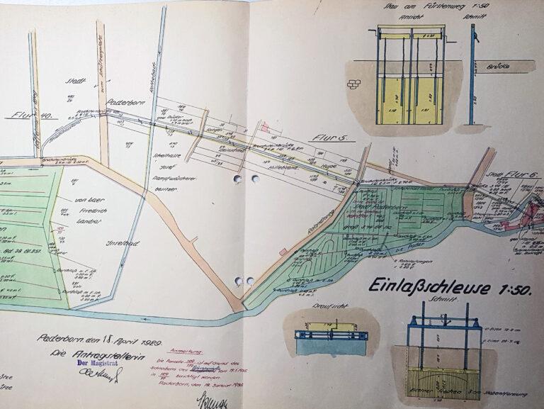 """Städtische Flöß- und Rieselwiesen 1929 (""""Lageplan zum Antrage auf Eintragung der Stau- und Wasserrechte in das Wasserbuch"""", Stadt- und KreisA Pb, A 3715, unfol.)"""