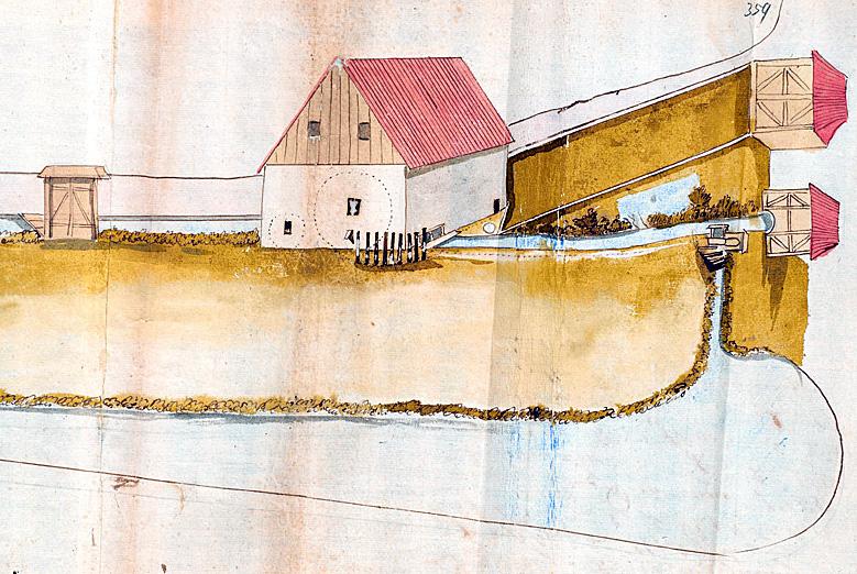 """Stadtarchiv Paderborn, Zeichnung der """"Stadtwasserkunst"""" an der Börnepader, 1705, A5253, p.359; Reproduktion des Kunstwerkes: www.hoffmannfoto.de, Fotografie und Design Ansgar Hoffmann, Zur Kammersennne 6, D-33189 Schlangen"""