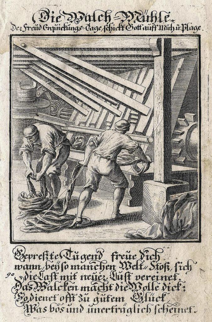 """""""Die Walch-Mühle"""" aus Christoff Weigel: Abbildung Der Gemein-Nützlichen Haupt=Stände […], Regensburg 1698."""