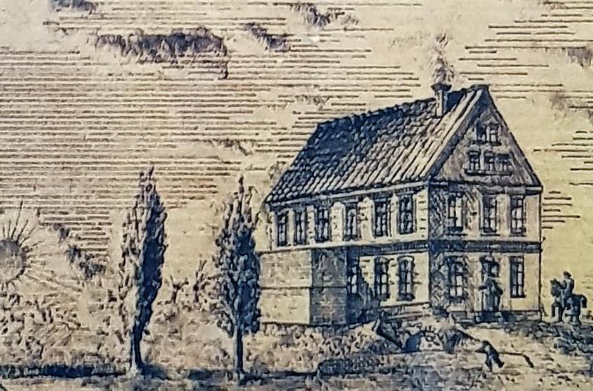 """Die ehemals Scherpelsche """"Weizenmühle"""" an der Wasserkunst-Pader, nun """"Neuhäuser Mühlenwerke"""" der Firma A. Rosenthal, um 1880 (Federzeichnung, Privatarchiv Georg. G. SANTEL, Paderborn)"""