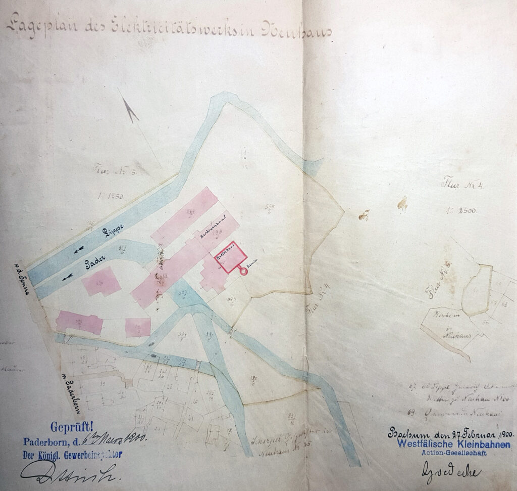 """""""Lageplan des Elektrizitätswerks in Neuhaus"""", 1900 (Stadt- und KreisA Pb, G 453, unfol.)"""