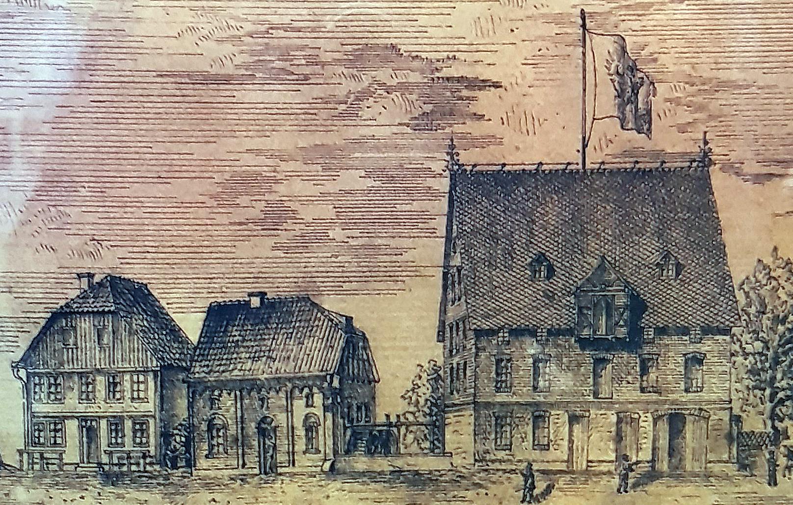 """Ensemble """"Neuhäuser Mühlenwerke"""" der Firma A. Rosenthal (v. l. n. r.) Wohnhaus, dreigängige Roggenmühle und Lagerhaus an der heutigen Schlossstraße, um 1880 (Federzeichnung, Privatarchiv Georg. G. SANTEL, Paderborn)"""
