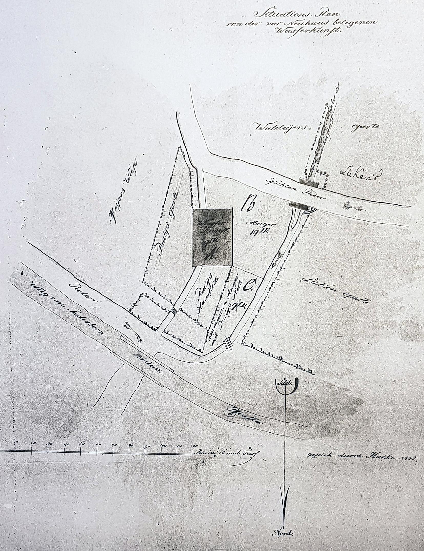 """""""Situations-Plan von der vor Neuhaus belegenen Wasserkunst"""", 1805 (LA Münster, KDK Münster 16/324, fol. 3r, Fotokopie: Privatarchiv G. G. SANTEL, Paderborn)"""
