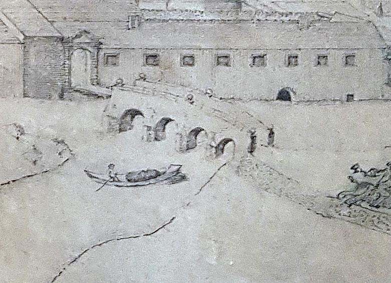 Ausschnitt: bemannter Kahn auf der Kleinen Lippe an der alten Schloßbrücke, 1719 (Ortsansicht Neuhaus, Federzeichnung auf Pergament von J. C. Schlaun, Residenzmuseum Schloss Neuhaus, Foto M. Ströhmer 2019)