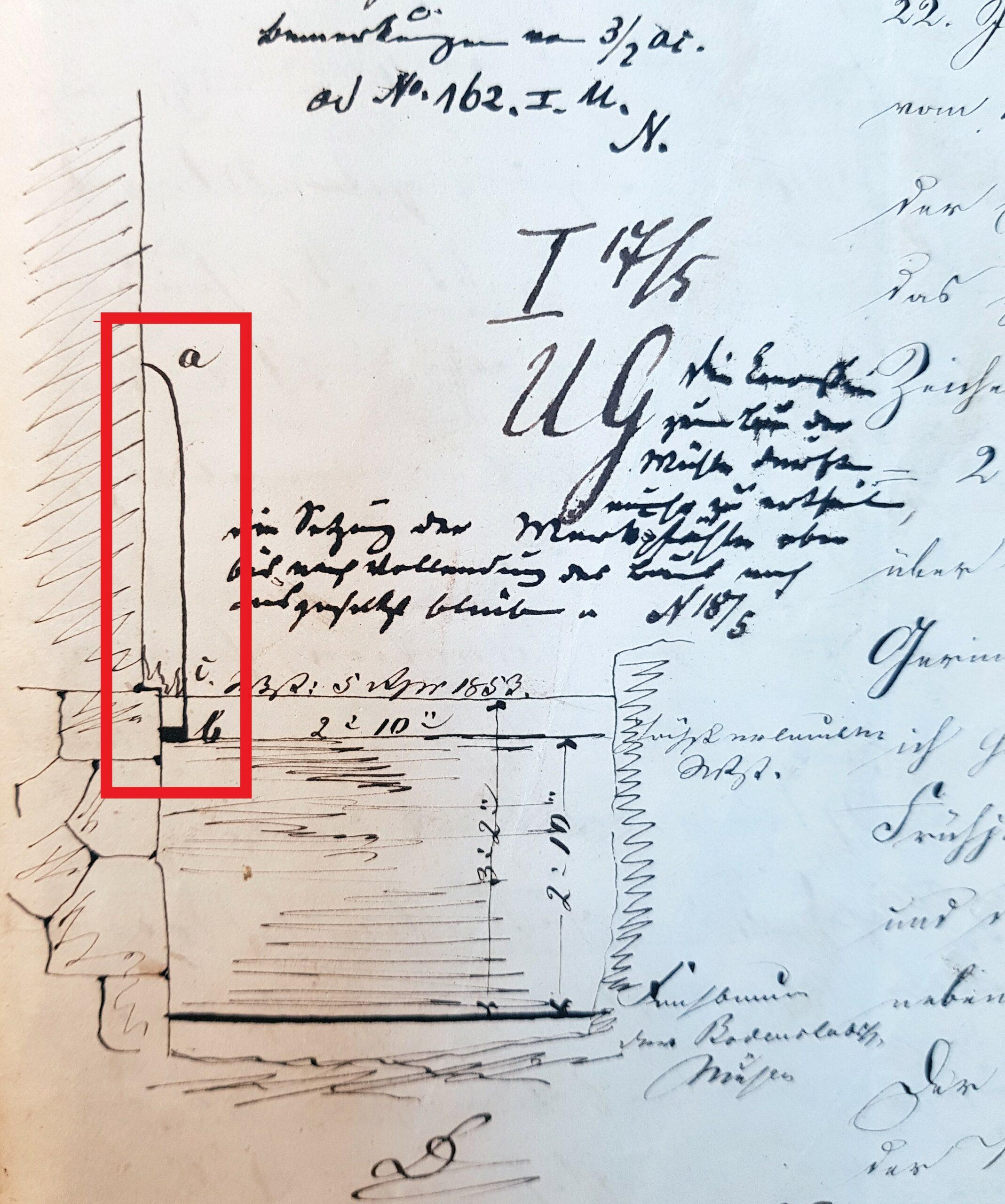 """Neuhaus, Skizze: Merkpfahl (Staumarke) vor der """"Roggenmühle"""" oberhalb der Paderbrücke am """"Paderborner Tor"""", 1853 (LA Detmold, Regierung Minden, I U Nr. 660, unfol.)"""