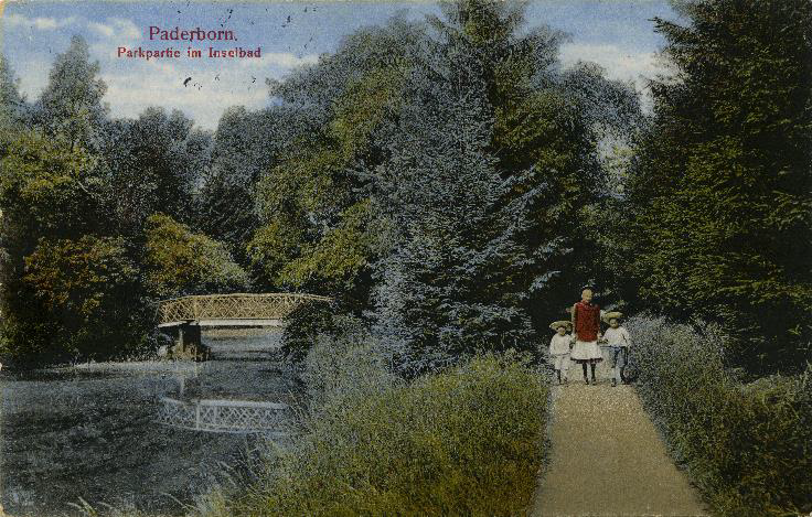 Park, kolorierte Ansichtskarte um 1900 (StA Paderborn, M 1 Ansichtskartensammlung, Klassifikationsgruppe 5, Inselbad)