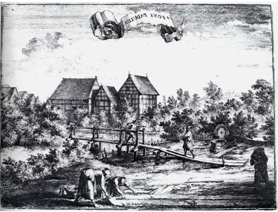 """Die spiegelbildliche Darstellung des Kupferstichs """"Fons Padulus"""""""
