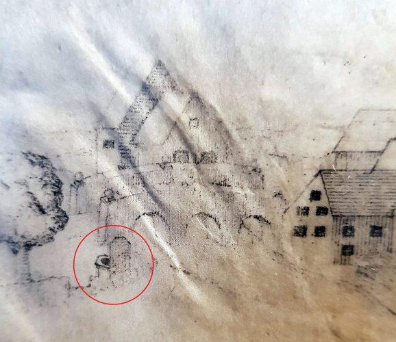 """Schloss Neuhaus, Marmoreinfassung der """"Padulusquelle"""", Pergamentzeichnung von J. C. Schlaun, 1719 (Residenzmuseum Schloss Neuhaus, Foto u. Bearbeitung M. Ströhmer 2019)"""