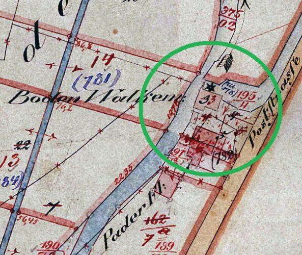 Neuhaus, Lage der Walkmühlen-Parzelle, Flurkarte von 1829 (Kreis Paderborn, Amt für Geoinformation, Kataster und Vermessung, Bearbeitung M. Ströhmer 2019)