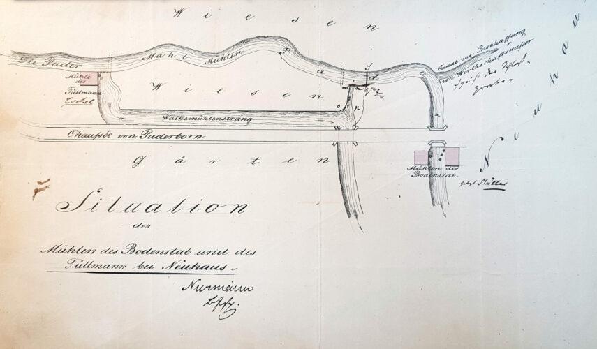 """""""Situation der Mühlen des Bodenstab [= """"Roggenmühle""""] und des Tüllmann [= Walkmühle] bei Neuhaus"""" 1849 (LA Detmold, Regierung Minden, I U Nr. 660, unfol.)"""