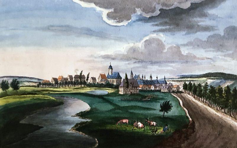 Ansicht von Neuhaus, um 1820/30, Aquarell von Friedrich v. Mengersen (Stadt- und Landesbibliothek Dortmund/ Residenzmuseum Schloss Neuhaus, Foto M. Ströhmer2019)