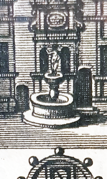 "Ausschnitt: ""Neptunbrunnen"" im Innenhof des Residenzschlosses um 1670 (Kupferstich J. G. Rudolphi, in: Ferdinand v. Fürstenberg, Monumenta Paderbornensia, Amsterdam 1672)"