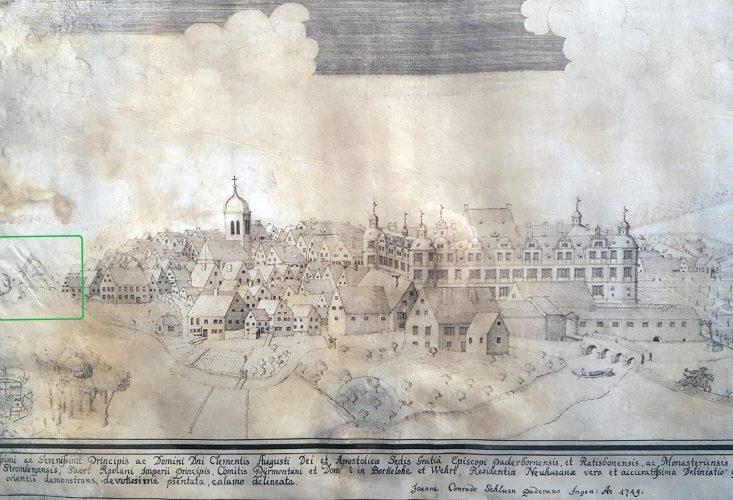 """Prospekt von Neuhaus mit """"Nepomukbrücke"""" und Alter Wasserkunst, 1719 (Federzeichnung auf Pergament von J. C. Schlaun, Residenzmuseum Schloss Neuhaus, Foto u. Bearbeitung M. Ströhmer 2019)"""