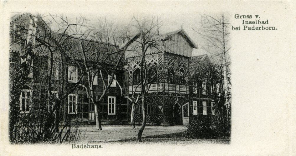 Ansichtskarte um 1903 (StA Paderborn, M 1 Ansichtskartensam mlung, Klassifikationsgruppe 5, Inselbad)Ansichtskarte um 1903 (StA Paderborn, M 1 Ansichtskartensam mlung, Klassifikationsgruppe 5, Inselbad)
